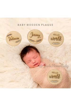 Papan Nama Bayi Kayu Hospital Board Custom Baby Plaque 15cm